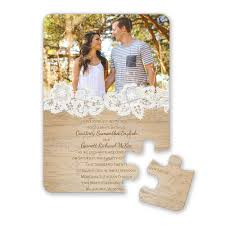 wedding invitations with pictures wood and lace puzzle invitation invitations by