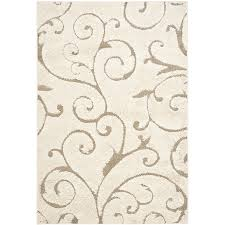 Area Rugs Beige Shop Safavieh Florida Scroll Shag Beige Indoor Tropical Area