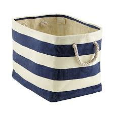 navy ivory rugby stripe storage bin with rope handles the
