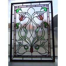 stained glass door patterns 082 handmade stained glass single panel pink and green nouveaus