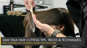 how to cut perfect face framing layers for longer hair v shaped