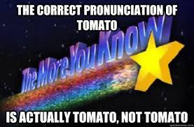 Correct Pronunciation Of Meme - the correct pronunciation of tomato is actually tomato not tomato