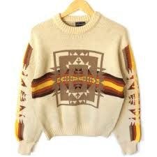 vintage 70s fall colors aztec ski sweater sweater the