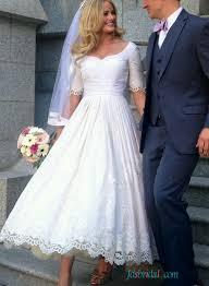 2016 vintage half sleeved lace tea length wedding dress vintage