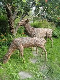 sculpture stag and doe size deer yard or garden statues