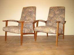 pair of french mid century modern mcm upholstered armchairs