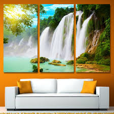 direct selling home decor sale direct selling 3 panels canvas art waterfall spray sunshine