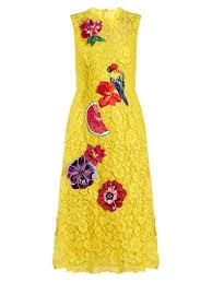 lowest price dolce gabbana embroidered cordonetto lace dress sunflower yellow
