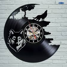 aliexpress com buy wolf pictures vinyl record wall clock get