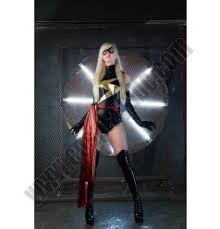 Ms Marvel Halloween Costume Fashion Black Gold Flash Leotard Halloween Costumes
