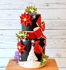 Flowers By Violet - an unusual and very eye catching christmas cake design great