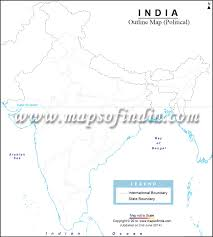 India Blank Outline Map by Political Map In A3 Size