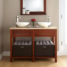arched small corner bathroom storage cabinet with long towel