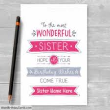 colorful free birthday cards for sister with name