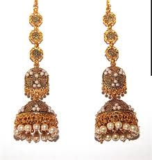 jhumka earrings with chain oxidized gold finish pearls accented jhumka earrings with support