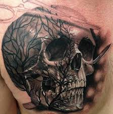 skull with a tree and instruments on chest