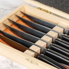 set of six titanium knives in wooden box by dibor