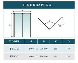 2 fold folding shower bath screen door panel