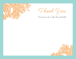 Thank Yous On Wedding Programs Coral Thank You Card