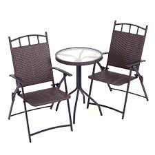 Rattan Bistro Table Rattan Effect Bistro Set Table Two Folding Chairs