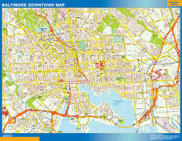 Baltimore Usa Map by Baltimore Downtown Map Netmaps Usa Wall Maps Shop Online