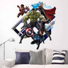 3d cartoon marvel hero the avengers pvc decals adhesive wall