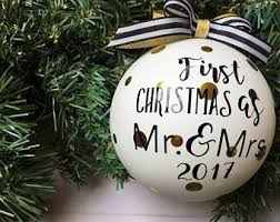 1st Christmas Decorations Mr And Mrs Ornament Etsy