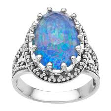 blue opal sajen 10 ct pacific blue opal quartz ring in sterling silver 10