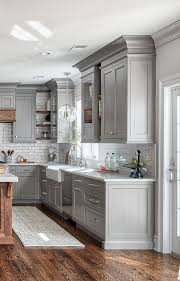 grey kitchen cabinets with brown wood floors hardwood flooring transitional kitchen seattle by