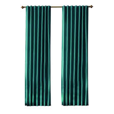 home decorators collection teal slub faux silk back tab curtain
