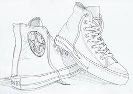 drawn sneakers all star pencil and in color drawn sneakers all star