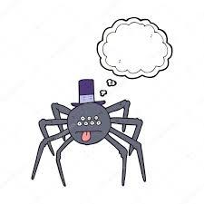 thought bubble cartoon halloween spider in top hat u2014 stock vector