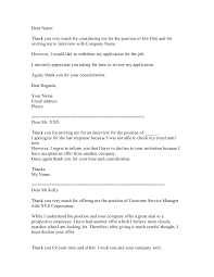 Confirmation Of Appointment Letter Sample Decline A Job Interview