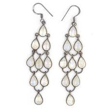 hook earrings tear drop chandelier hook earrings moonstone rhodium natalie b