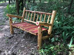 Firepit Bench by 4 Ft Rustic Log Adirondack Style Patio Bench Rustic Porch Bench