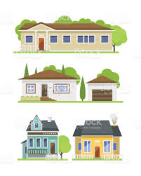 flat home design cute colorful flat style house village symbol real estate cottage