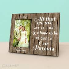 wedding gift for parents parent wedding gift personalized picture frame rustic wood