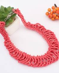 red collar necklace images Red seed bead plait collar necklace ac0020188 3 jpg