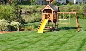 back yard wooden swing set on green lawn stock photo picture and