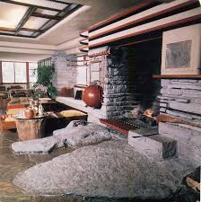 flr fallingwater fireplace and rock in front home pinterest