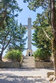 cross on the observation deck mount filerimos greece stock