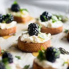 appetizer canape blackberry goat cheese crostini as a strawberry
