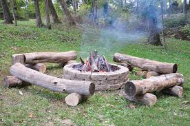 Fire Pit Ideas Pinterest by Fire Pit With Primitive Log Benches Leisure Pinterest Fire