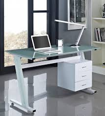 Modern Glass Top Desk Furniture Computer Desk With Shelf Glass Storage Ideas