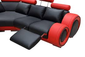 Red Leather Reclining Chair Modern Leather Sectional Sofa With Recliners