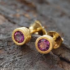 amethyst stud earrings gold amethyst birthstone stud earrings by embers gemstone