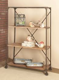 Iron And Wood Bookcase Cole U0026 Grey Metal And Wood 63