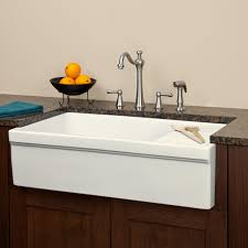 Gallo Fireclay Farmhouse Sink With Drainboard White Kitchen - Kitchen sinks with drainboards