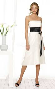 ivory chiffon a line strapless knee length bridesmaid dresses