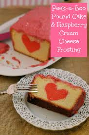 peek a boo pound cake with raspberry cream cheese frosting